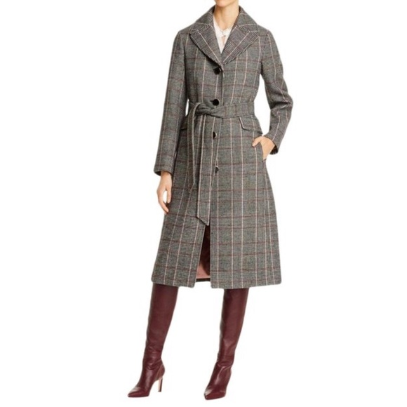 Kate Spade Glen Plaid Belted Trench Coat